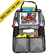"""Car Organizer for Kids, Toddlers & Infant. Car Seat Organizer. Car Accessories for Kids. Backseat Car Organizer. Kick Mat & Backseat Protector with Touch Screen Pocket for Tablets up to 10.1"""""""