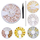 WOKOTO 6 Wheels/Set Metal Nail Gem Wheels Rose Gold Silver Stars Moon Shells Nail Studs Beads For Nail Art Jewels With Tweezers And Rhinestones Picker Pencil Set
