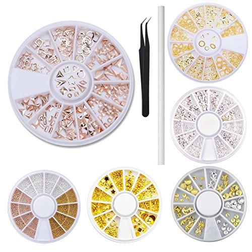 WOKOTO 6 Wheels/Set Metal Nail Gem Wheels Rose Gold Silver Stars Moon Shells Nail Studs Beads For Nail Art Jewels With Tweezers And Rhinestones Picker Pencil (Star Shape Jewel)