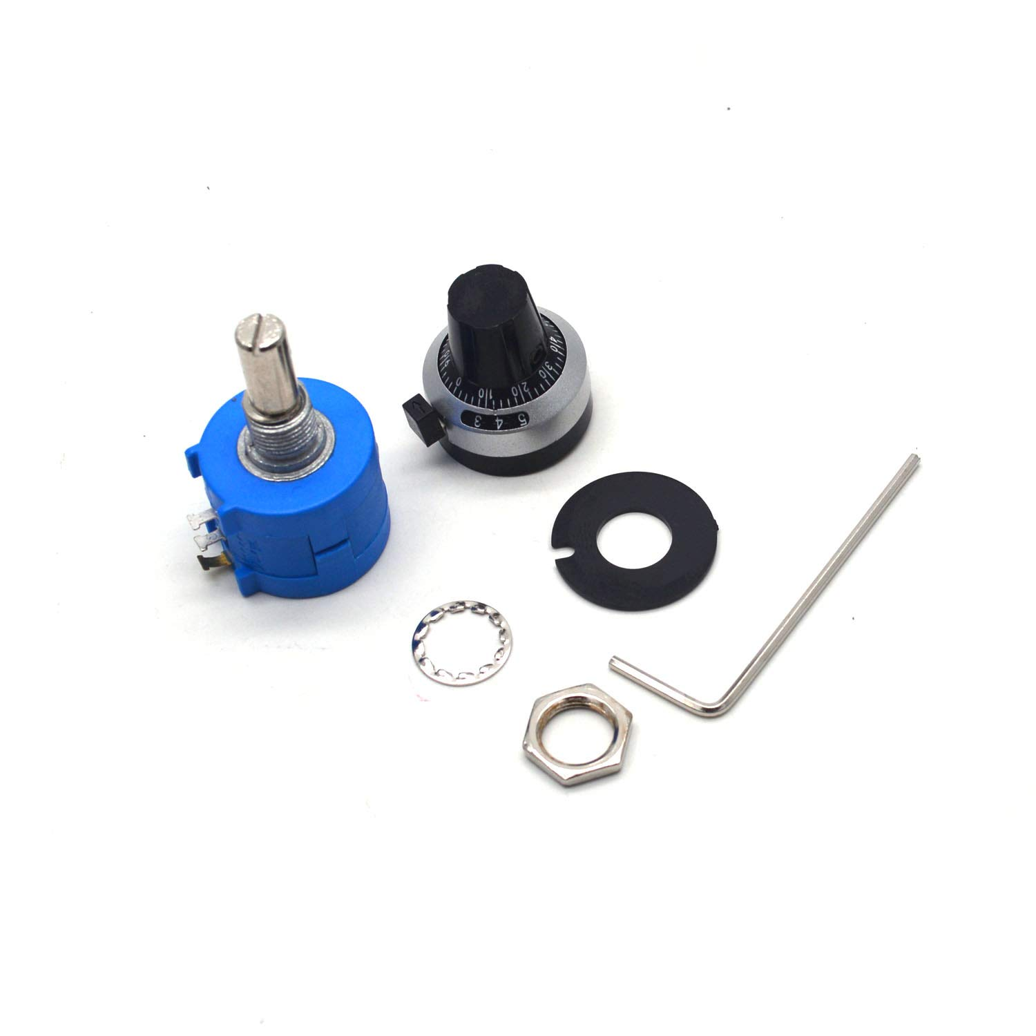 Antrader 1 Set 3590S-2-103L 10K Ohm 10-Turn Rotary Wire Wound Precision Potentiometer Kit
