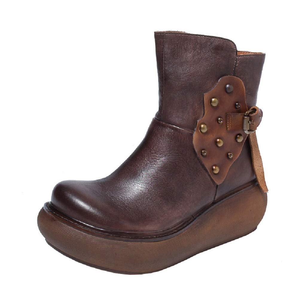 ZHRUI Metall Damen Stiefel Zipper Lederknopf Vintage Plateauschuhe (Farbe   Braun, Größe   EU 38)  | Neueste Technologie