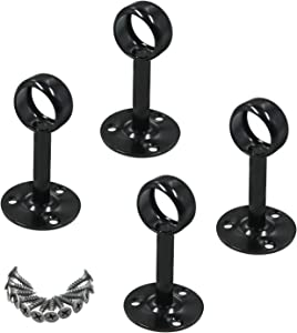 Antrader Stainless Steel Matte Black Shower Curtain Wardrobe Closet Rod Holder Ceiling Mount Bracket 4 Pack, 25mm/1-Inch Dia