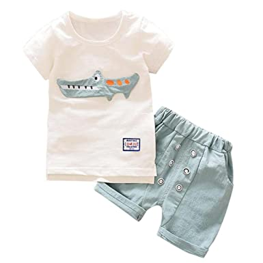 75deb24a5 Moonuy Toddler Kid Baby Boy Outfits Clothes Cartoon Print T-shirt  Tops+Shorts Pants Set Summer Elegant Short Sleeve Party Costume party  photoshoot for a ...