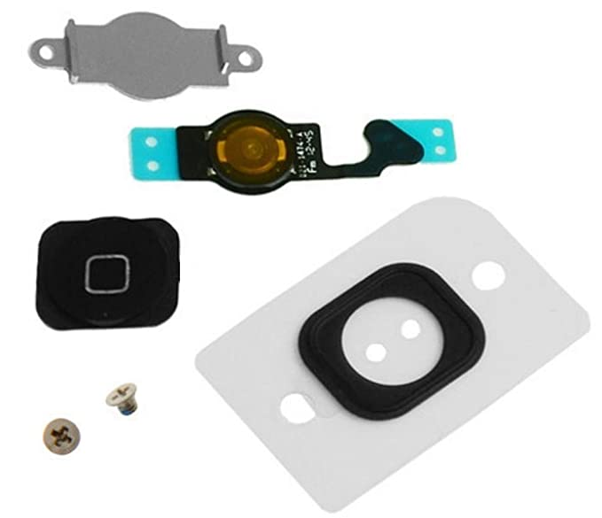competitive price cf23e c2404 EShine Home Button Replacement Key Cap + Flex Cable + Rubber Gasket + Metal  Piece + 2 Screws for iPhone 5 (Black)