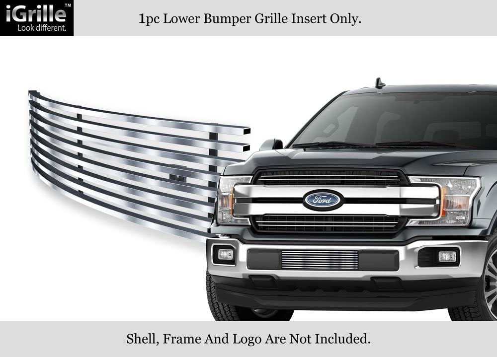 APS Compatible with 2018-2020 Ford F-150 Lower Bumper Stainless Steel Polished Chrome 8x6 Horizontal Billet Grille Insert N19-S10466F