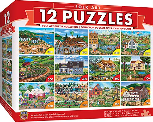 MasterPieces Folk Art Collection Bundle, Jigsaw Puzzle, Old World Scenes & Culture, 12-Pack, 100, 300, 500 Pieces, Assorted