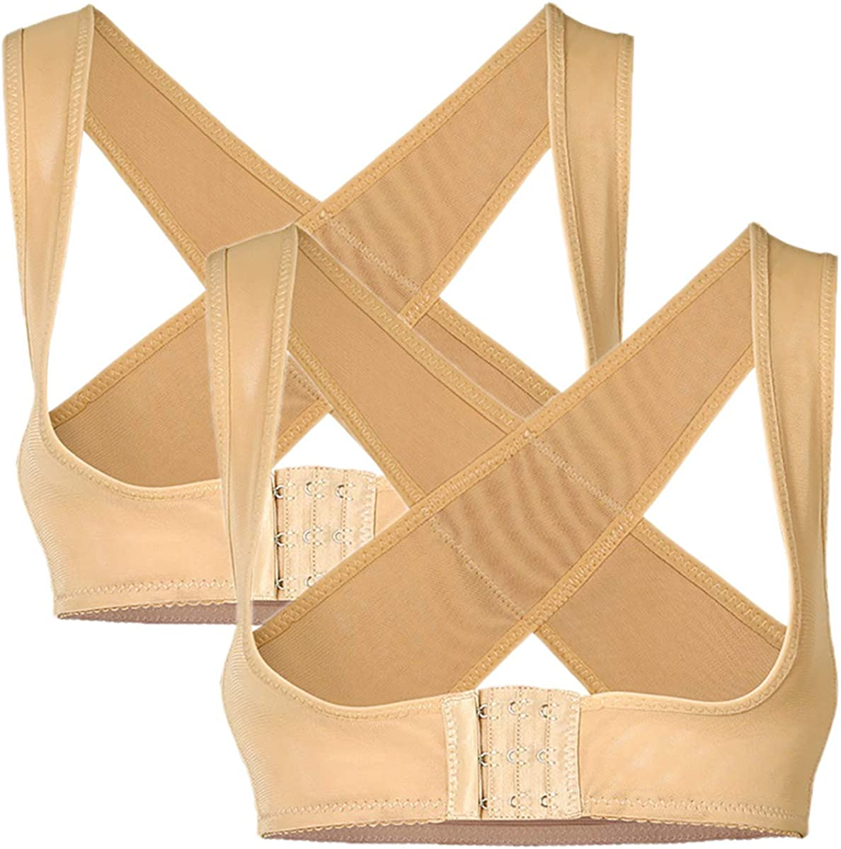 PRETTYWELL Women's Cross Back Posture Corrector Push up Bra Chest Support 2 Pack NY090 (2 Nude, M)