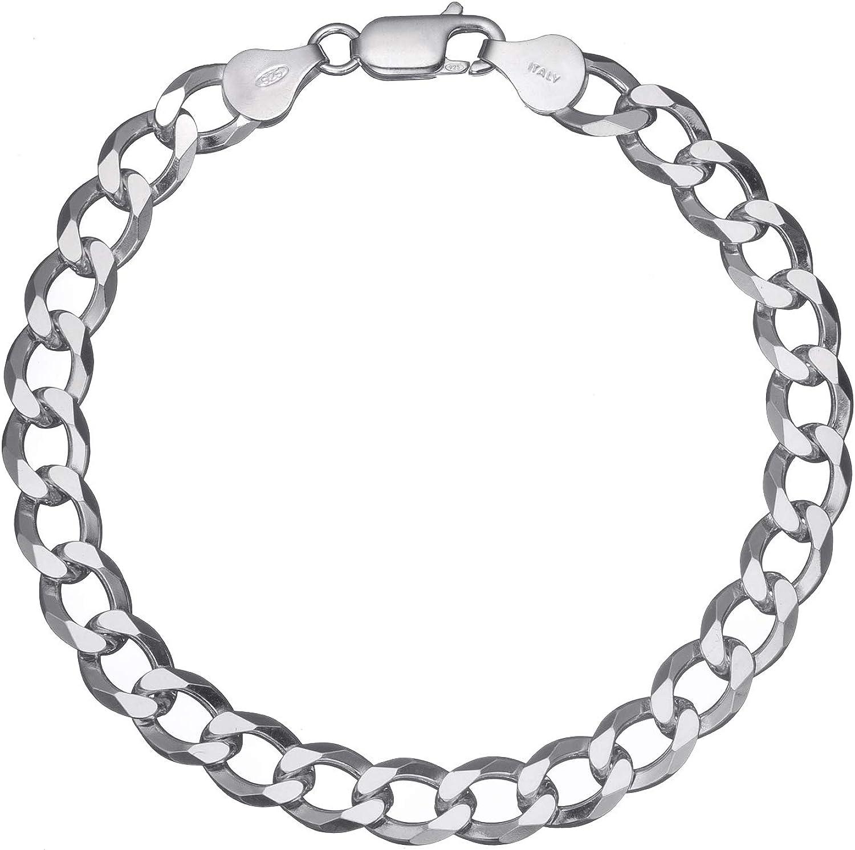 "Solid 925 Sterling Silver Men's Italian 7mm Cuban Curb Link Chain Bracelet 7"" - 8"""