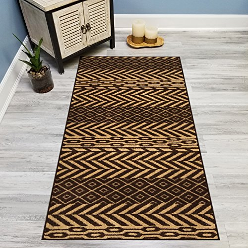 Your Choice Length Brown & Beige Traditional Kilim Non-Slip Rubber Backed Carpet Runner Rug | 31-inch x 23-feet