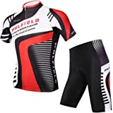 WOLFBIKE Men Cycling Jersey Bicycle Bike Cycle Short Sleeve Jersey Comfortable Breathable Shirts Tops, 3D Cushion Padded Shorts Tights Pants Sportswear Set Breathable Quick Dry