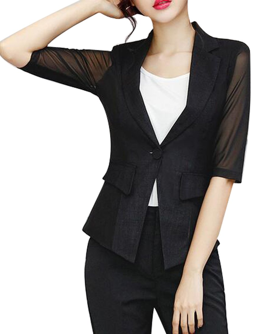 Fensajomon Womens Summer Cotton Linen Mesh See Through Short OL Work Blazer Jacket Coat Black L