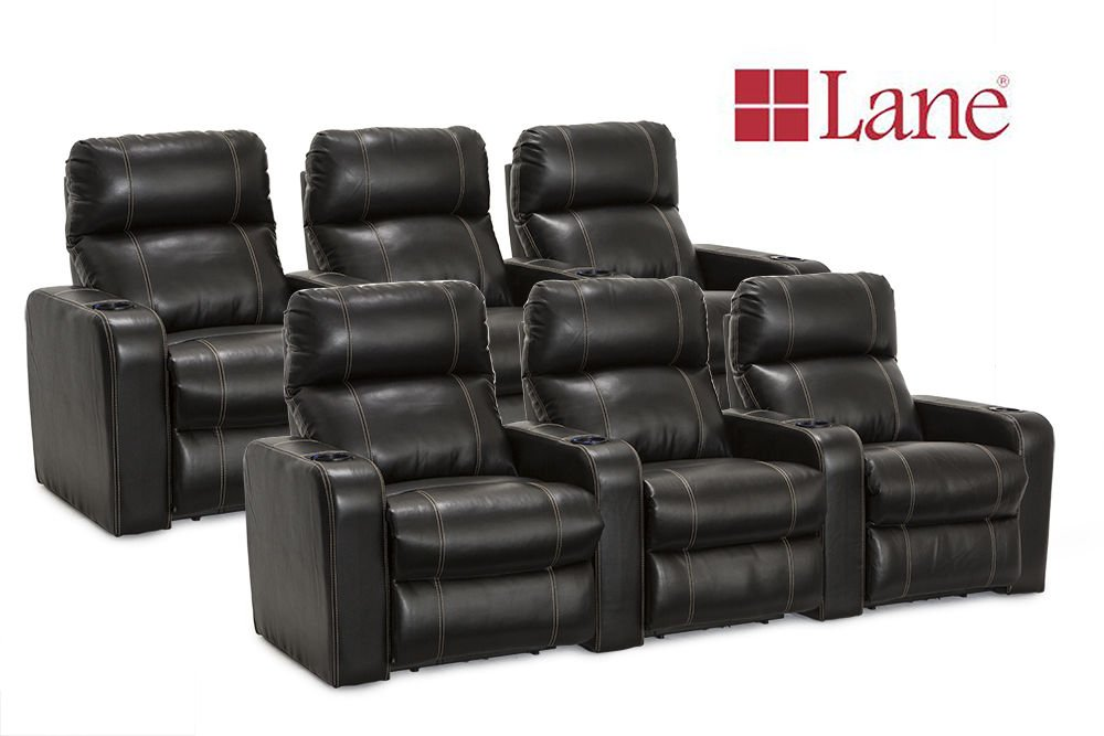 Lane Dynasty Black Bonded Leather Home Theater Seating - 2 Rows of 3 Seats (6 Recliners) - Power Recline