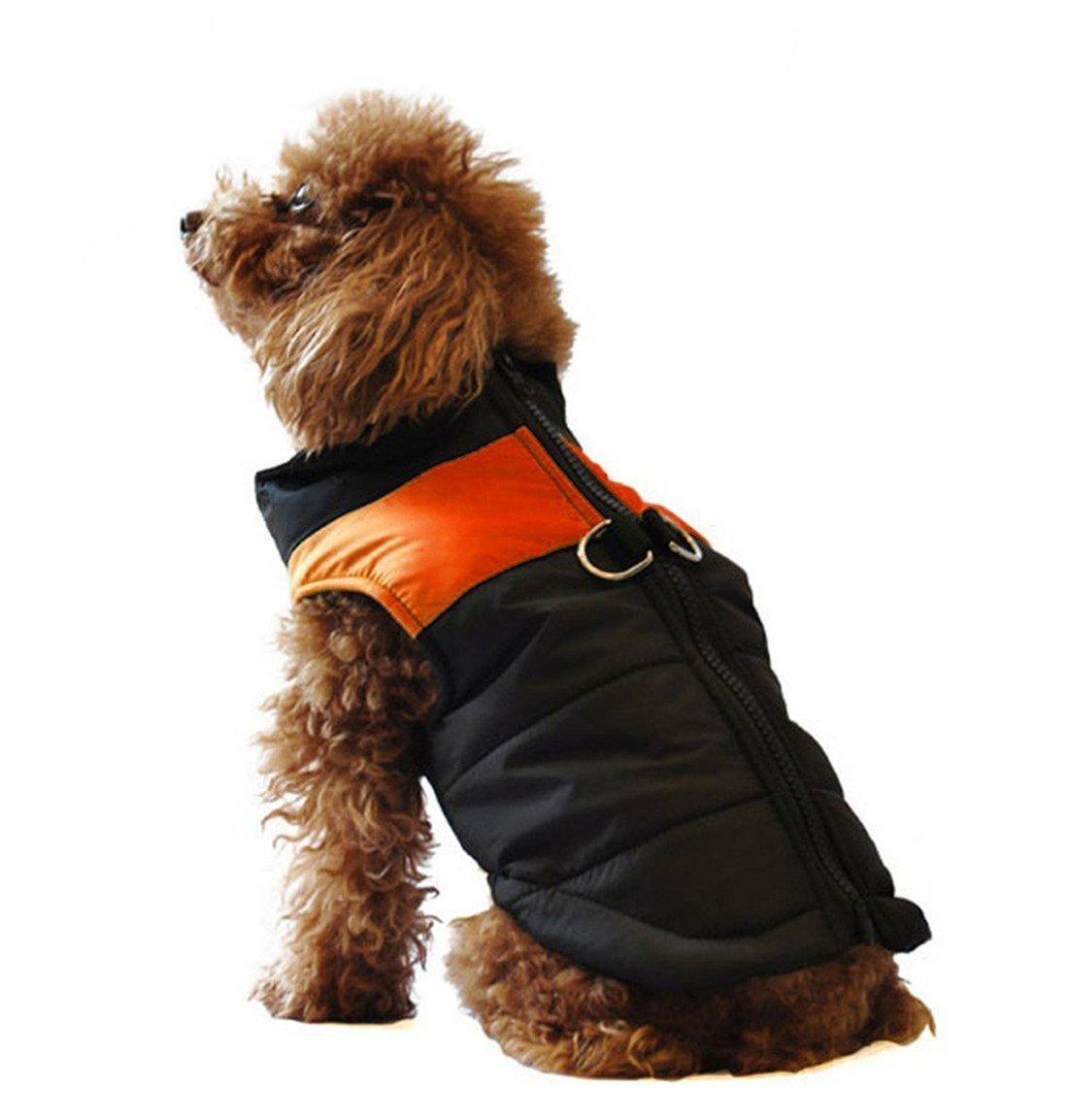 GabeFish Dog Warm Padded Cotton Waterproof Jackets Pets Winter Zipper Clothes Vest Coat Skiwear Orange 4X-Large