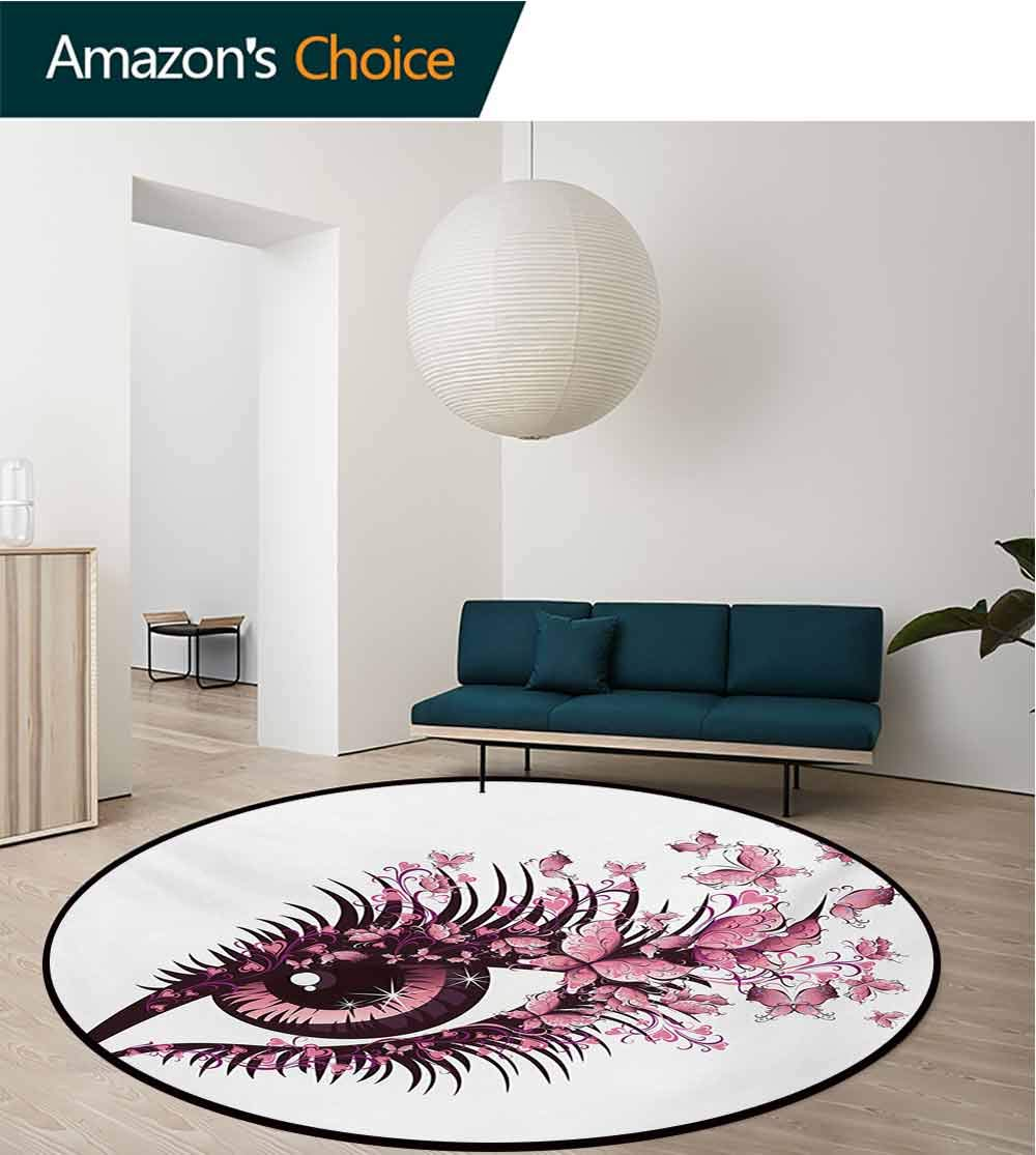 RUGSMAT Butterflies Small Round Rug Carpet,Fairy Female Eye with Butterflies Eyelashes Mascara Stare Party Makeup Door Mat Indoors Bathroom Mats Non Slip,Round-55 Inch Pale Pink Purple by RUGSMAT (Image #1)