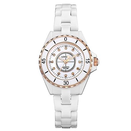 LONGBO 女性流行ローズ金アナログクオーツビジネスは、女性のための婦人セラミックバンドクリスタルラインストーンアクセント付けダイヤル腕輪腕時計カジュアル防水性ドレス時計&時計を見る …