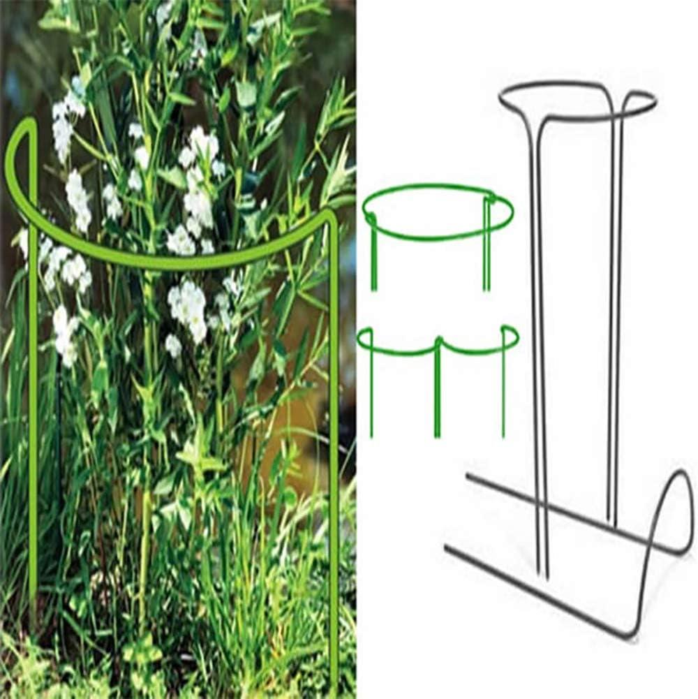 Kooshy 2 pi/èces pieu Support Plante Support Plante Bordure Jardin en m/étal Vert Demi-Rond Anneau Support Plante Arc Support Plante pour la Plupart des Plantes touffues et des Plantes de Vigne