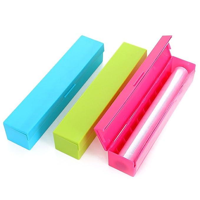 Dispensador de film papel aluminio multifunción cortador (verde/azul/rosa): Amazon.es: Hogar