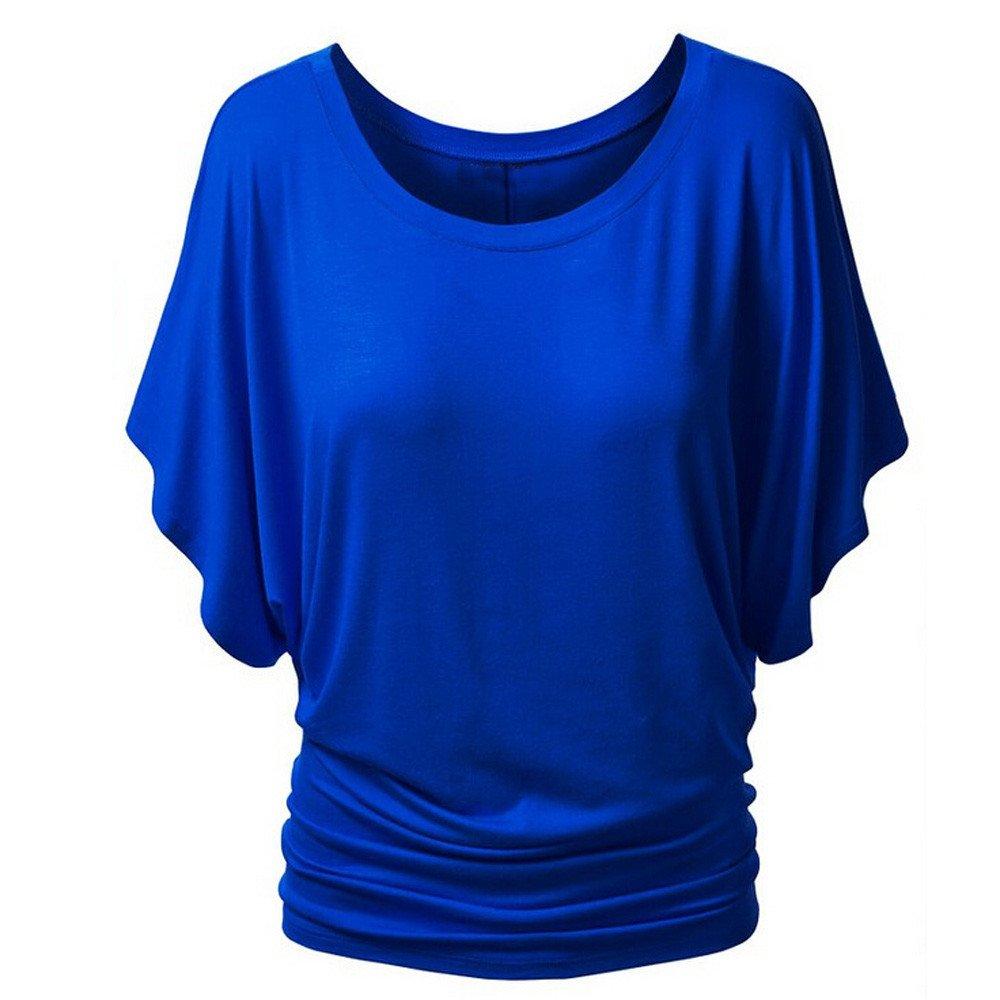 Ladies Kurzarm Rosennie Damen Mode Sexy Rundhals Pailletten Fledermaus T-Shirt  Frauen Casual Tunika Top Bluse Plus Größe Oberteil Lässige Fashion  Klassisch ... c0dad15814