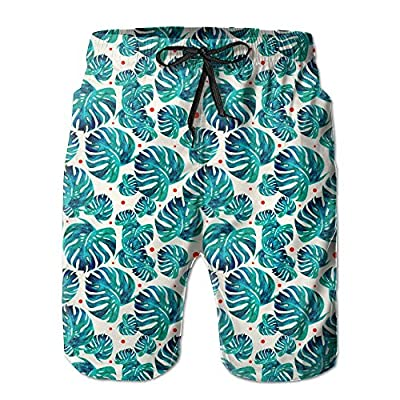 Wholesale Qpkia Tropical Palm Banana Leaf Men Casual Drawstring Beach Boardshorts Pants Pocket for cheap