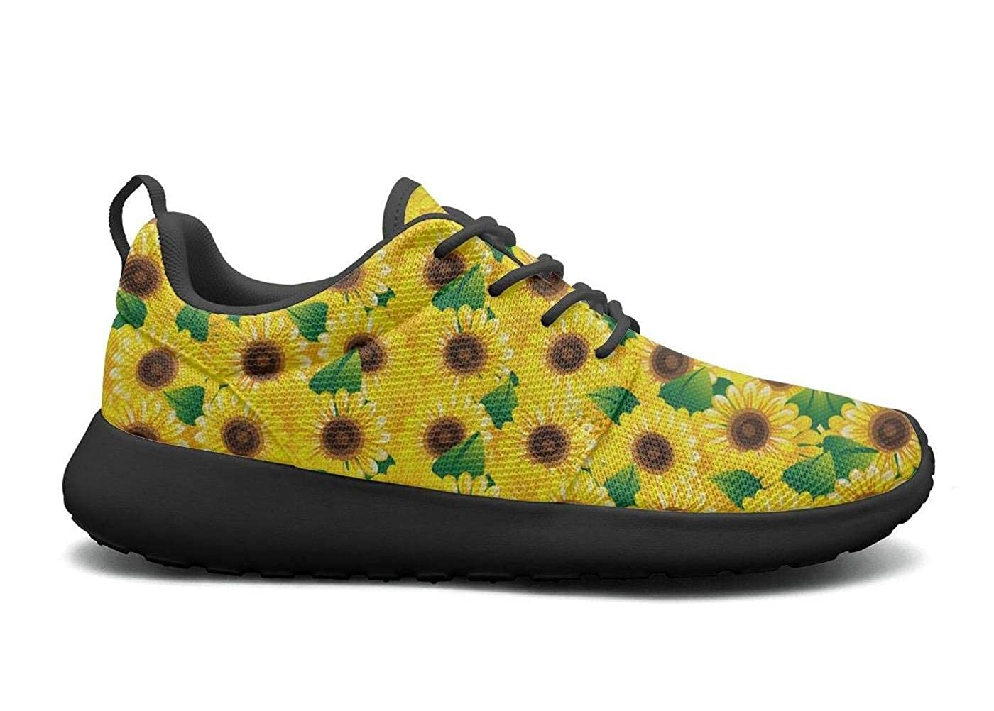 CHALi99 Casual Womens Lightweight Mesh Shoes Rustic Sunflower Decor Sneakers Trail Running Lace-Up