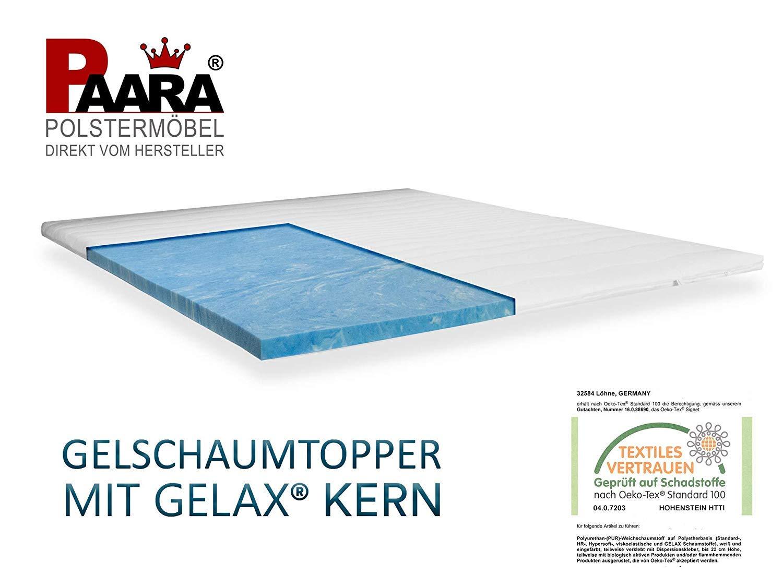 Topper mit GELAX® GELAX® GELAX® Matratzenauflage Gelschaum Topper mit 7cm Gesamthöhe und Raumgewicht RG 50 mit Gelax Platte Bezug Waschbar 180 x 200 cm 14ee25