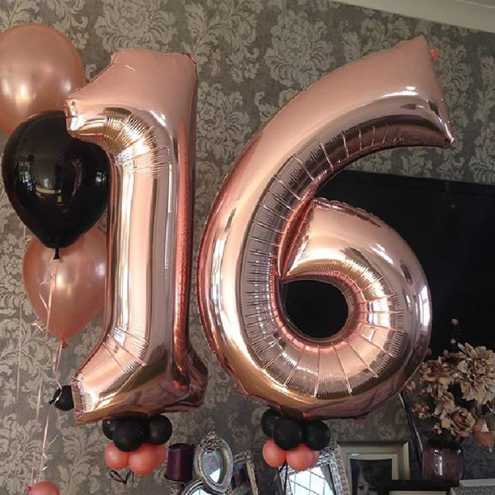 Globo de l/ámina gigante en 2 tama/ños Set 100cm Globos N/úmero 16 Cumplea/ños XXL de oro rosa Mini 40cm version Decoraciones de cumplea/ños  Ideal para el XVI como decoraci/ón. 40 y 16
