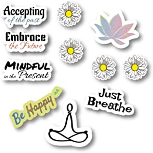 Empt Idio -Life Quotes Removable Vinyl Stickers for Laptop, Mirror, Door, Window, Car, Cellular Phone, Mindful in The Present, Just Breathe, Be Happy, Yoga, Meditation, Lotus (Empt02)