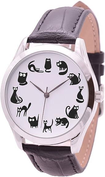 Negro Gatos Relojes para Las Mujeres – Regalos de cumpleaños para ...