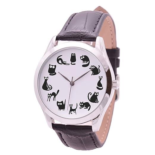Negro Gatos relojes para las mujeres - Regalos de cumpleaños para su diseño de gato amante regalo: Amazon.es: Relojes