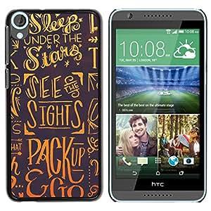Caucho caso de Shell duro de la cubierta de accesorios de protección BY RAYDREAMMM - HTC Desire 820 - Sleep Stars Dreams Slogan Quote Art