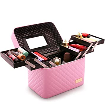 a748b8feb570 Grid Cosmetic bags Large capacity Simple Portable Multi-layer Home ...