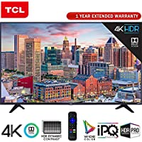 TCL 55' Class 5-Series Super-Slim 4K HDR Roku Smart TV 2018 Model (55S517) + 1 Year Extended Warranty