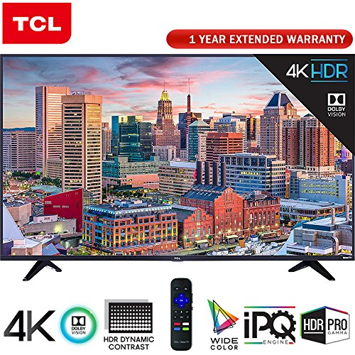 TCL 43 Class 5-Series Super-Slim 4K HDR Roku Smart TV 2018 Model (43S517) + 1 Year Extended Warranty