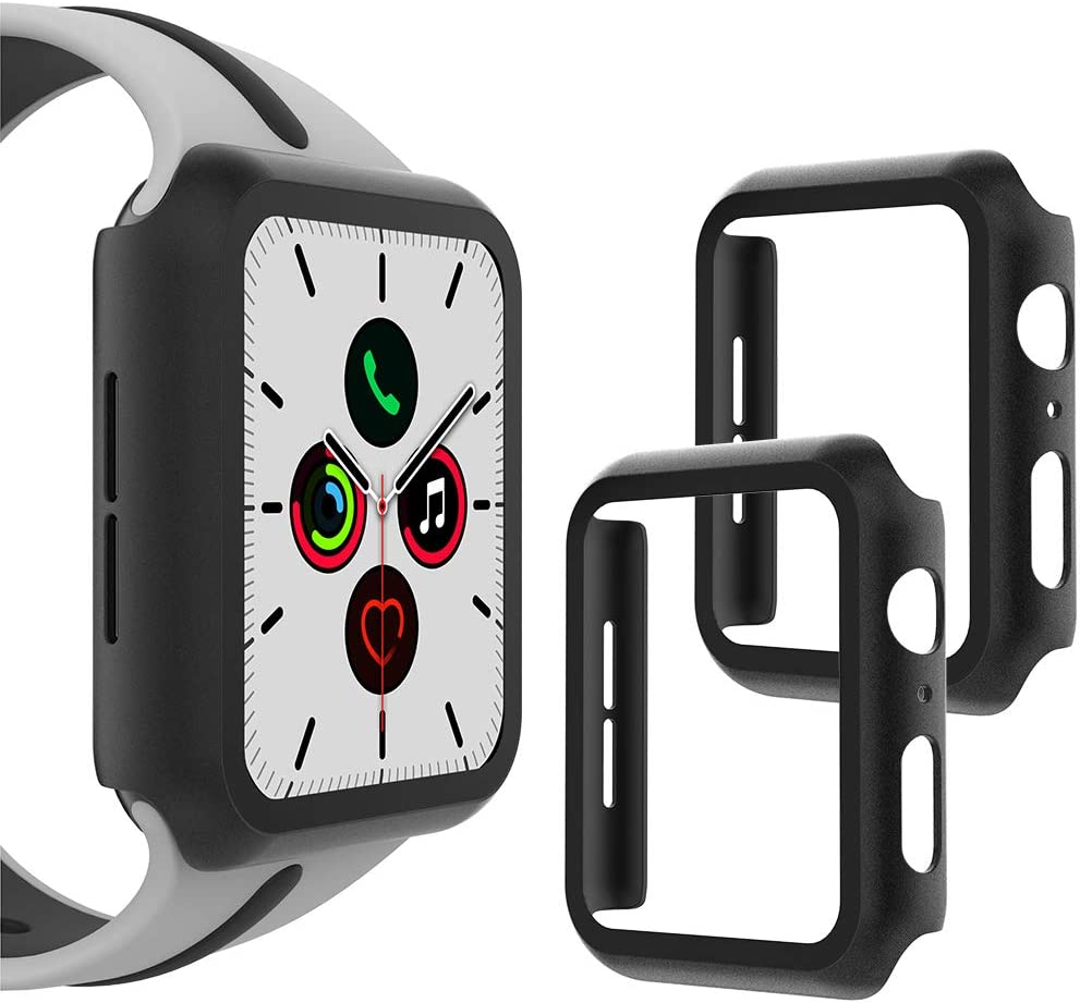 WD&CD (2 Pack) Case Compatible with Apple Watch Series SE/6/5/4 44mm, Buit-in Ultra Thin HD Tempered Glass Screen Protector Overall Protective Cover Replacement for iwatch Series SE/6/5/4, Black