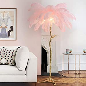 Ylight Modern Luxury Ostrich Feather Floor Lamp Nordic Decoration Home Copper Resin Standing Lamp for Villa Tripot Hote Floor Lighting,White,H:1.7M