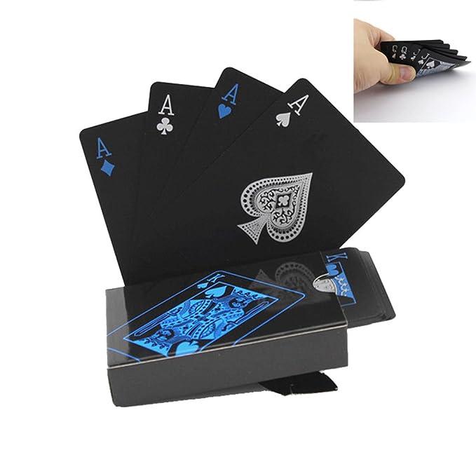 Amazon.com: Negro Juego de cartas de plástico Juegos de ...