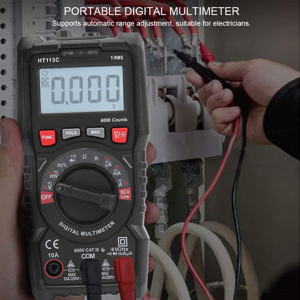 Current Voltage Hand‑Held DC//AC Professional Digital Multimeter Tester High Sensitivity for Electrician for Home HT113C