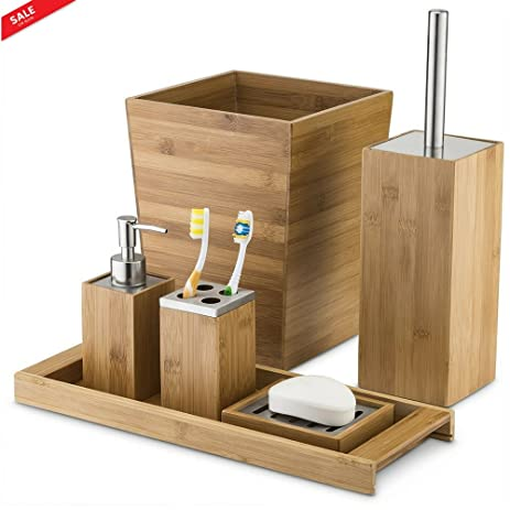 Amazon.com: Bath Ensemble Wood 6 piece Bathroom Accessories set ...