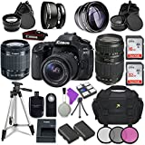 Canon EOS 80D 24.2MP CMOS Full HD Wi-Fi Enabled Digital SLR Camera with Canon EF-S 18-55mm IS STM Lens + Tamron Zoom Telephoto AF 70-300mm f/4-5.6 Autofocus Lens + Accessory Bundle