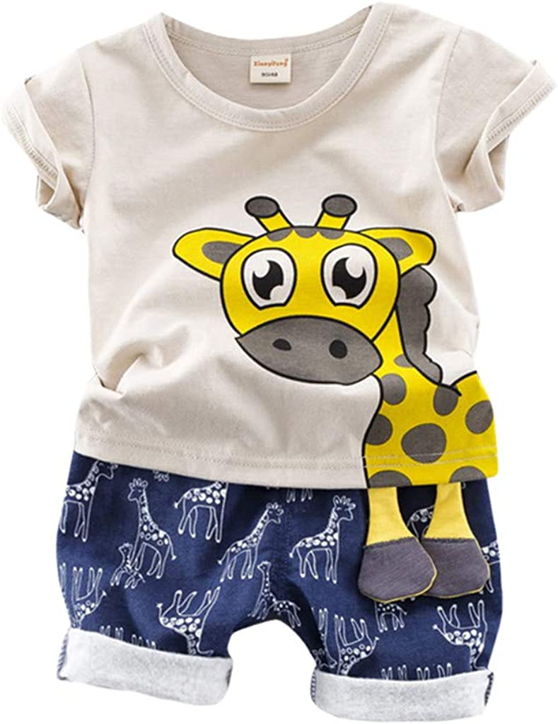 Baby Boys T-Shirt Short Sleeve Tiger Elephant Giraffe Print Cotton Green Stripes Tops Tees Outfits Animal Pattern Summer Fashion Age 1-8 Years Old
