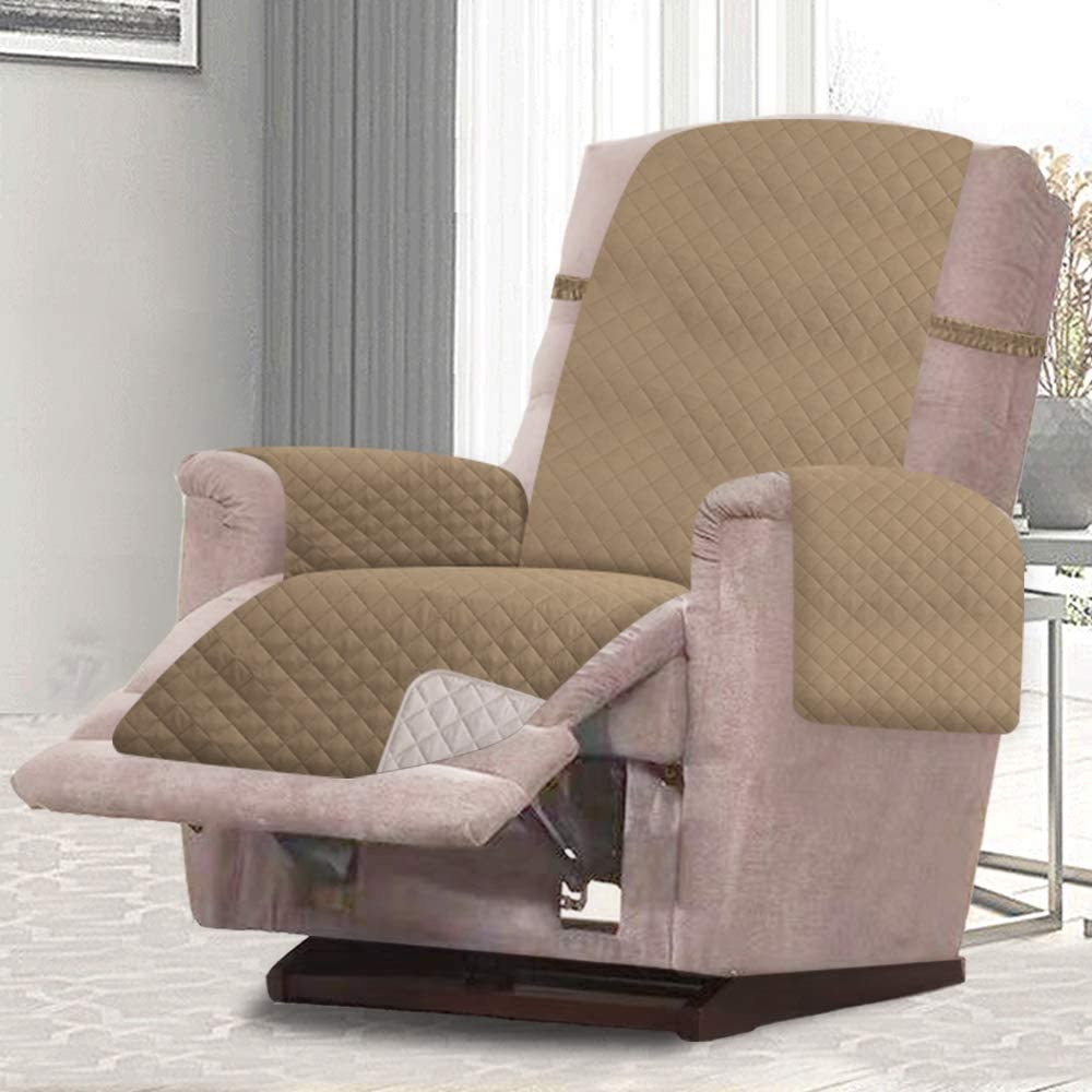 RHF Reversible Recliner Chair Cover, Chair Cover, Recliner Cover, Pet Cover for Chair, Furniture Protector, Machine Washable, Double Diamond Quilted(Recliner-Small:Taupe/Beige)