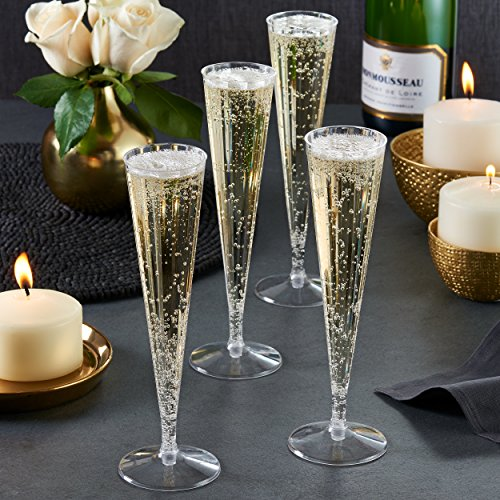 Toasted Drinkware Premium Hard Plastic Clear Two Piece 5 oz Champagne Flutes / Champagne Glasses (40 Count) by Toasted Drinkware