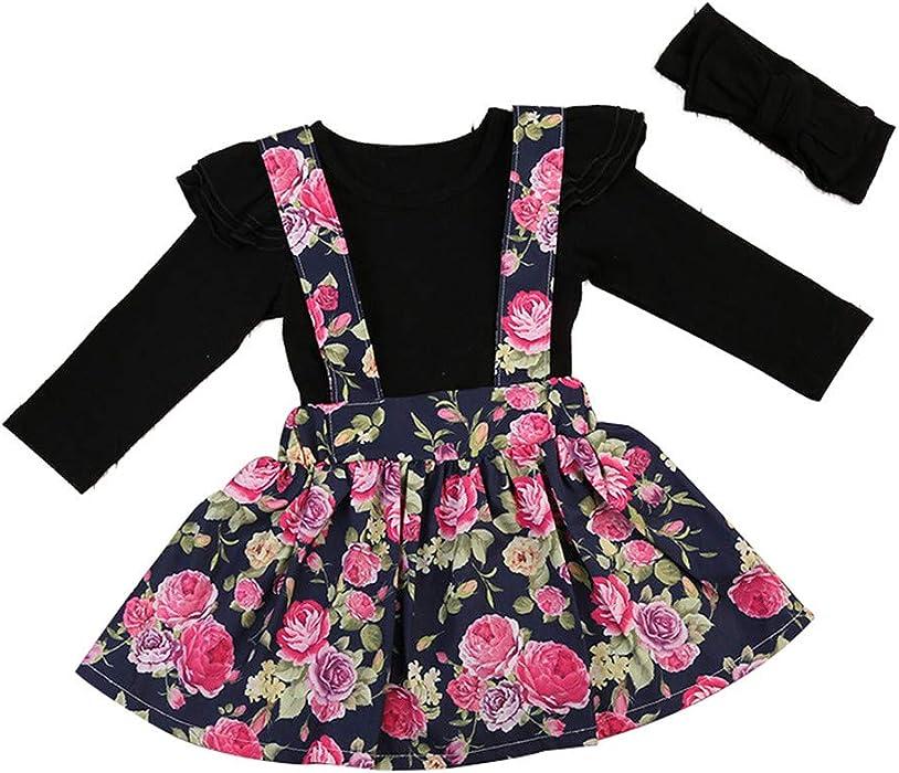 61dcac474b1 Amazon.com  Infant Baby Girls Long Sleeve BPc Dress Outfits Set Long Sleeve  Black Ruffle Romper Top+Floral Strap Skirt+Bowknot HeadblackRuffle Romper  ...