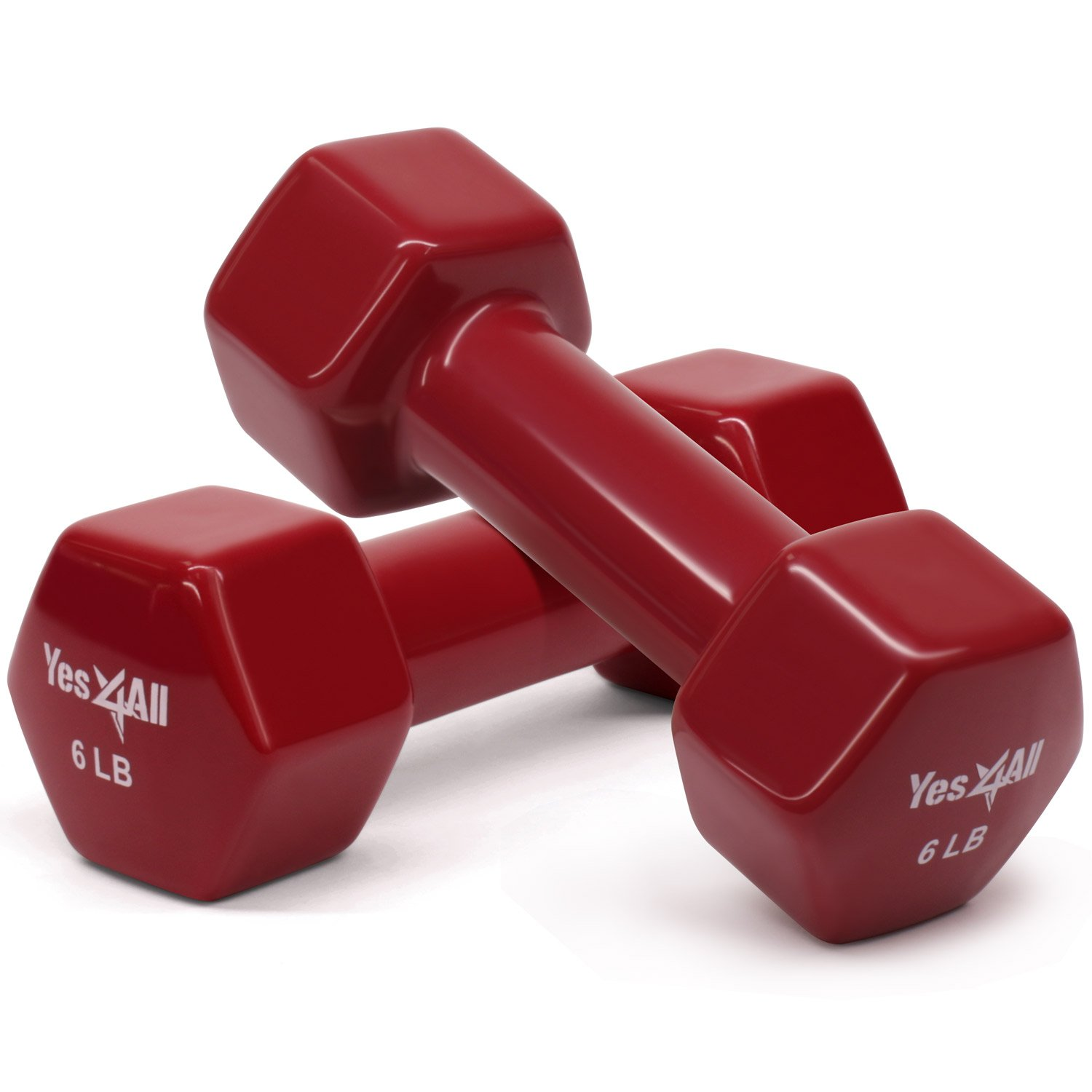 Yes4All Vinyl Dumbbell Set - 6 lbs Dumbbell Hand Weights (Dark Red, Set of 2)