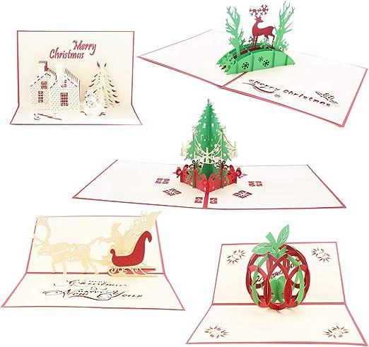 Tarjetas de felicitación de Navidad,5 Pack tarjetas de Navidad Pop-Up 3D Tarjetas de felicitación de regalo de vacaciones Árbol de Navidad/Reno Tarjeta de felicitación y sobres para Navidad Regalos: Amazon.es: Hogar