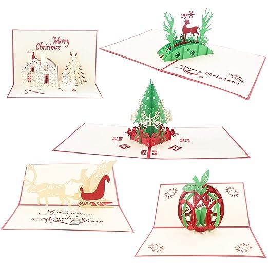 Tarjetas de felicitación de Navidad,5 Pack tarjetas de ...