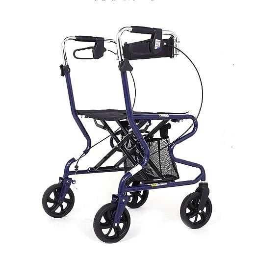 Andador de cuatro ruedas plegable y liviano con asiento acolchado ...