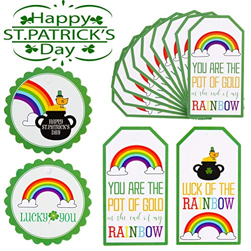 40 Pieces St. Patrick's Day Gift Tags – Happy St. Patrick's Day Tags – Lucky You Tags – Luck of The Rainbow Labels with 33 Feet Strings for Irish St Patty's Day Gift Wrap, Candy Packaging Tags