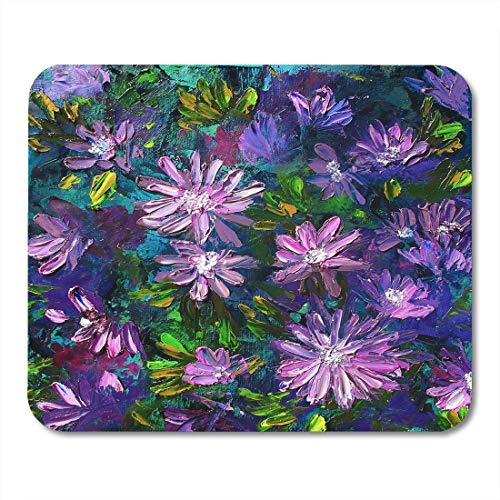 - Mouse Pads Life Green Painting Flowers Oil on Canvas Purple Abstract Still Mouse Pad for Notebooks,Desktop Computers Mouse Mats, Office Supplies