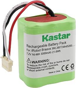 Kastar BRAAVA380 Battery (1 Pack), Ni-MH 7.2V 3000mAh, iRobot Mint 5200 Vacuum Cleaner Replacement Battery for IRobot Braava 380, 380T, Mint5200, 5200B, 5200C Floor Mopping Robots